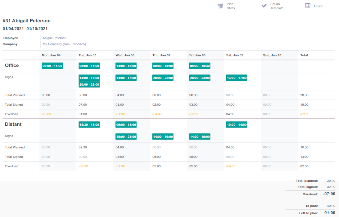 Odoo shifts for timetables