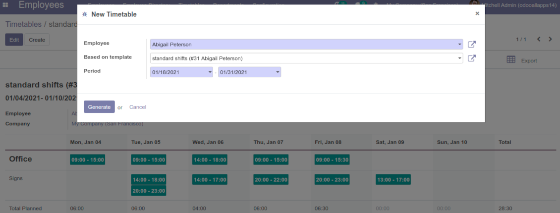 Odoo working shifts templates