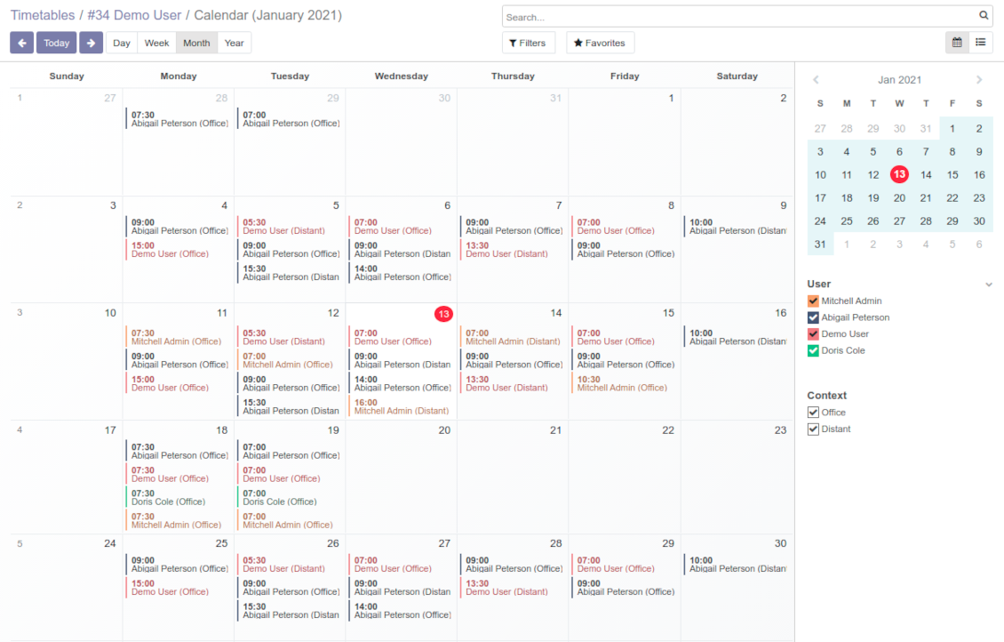 Monthly view for working calendar