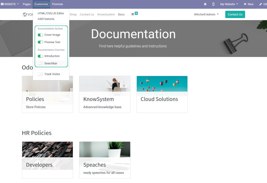 Optional features for documentation sections