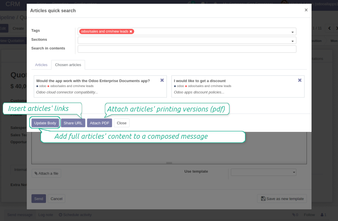 Odoo composer link articles to messages