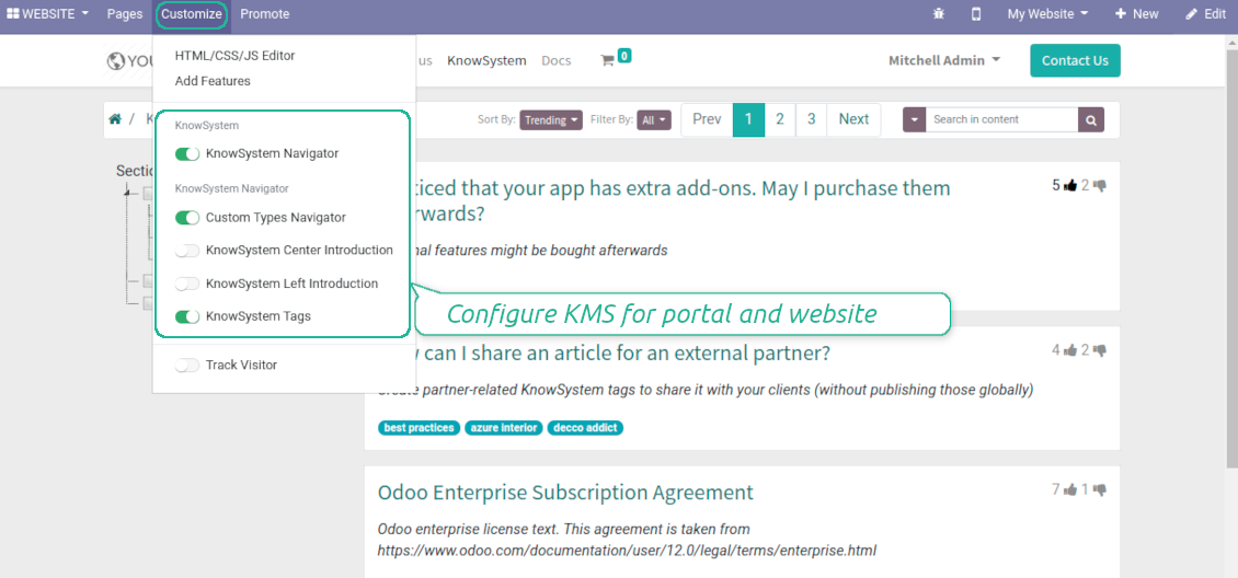 Custom Odoo option for public KMS