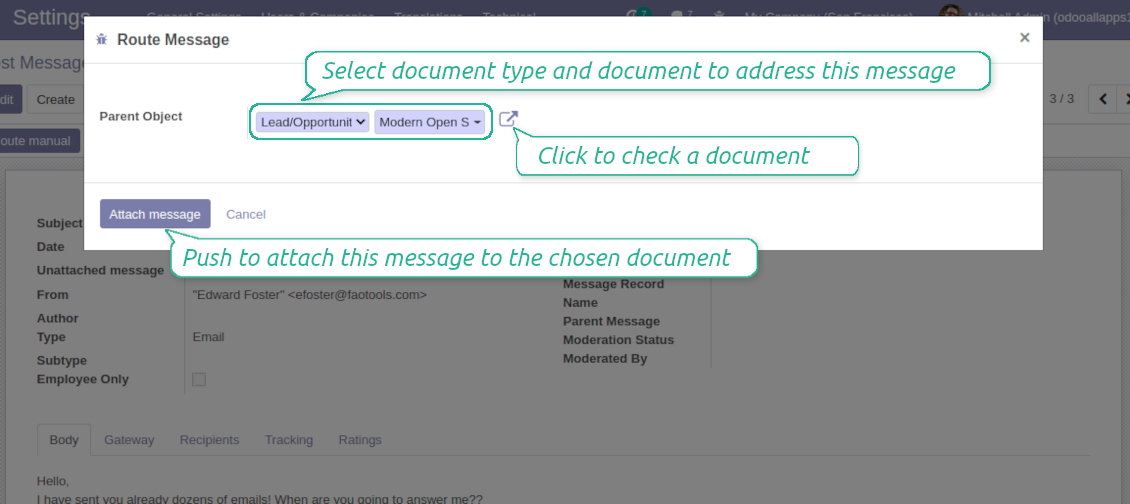 Odoo wizard to assign messages
