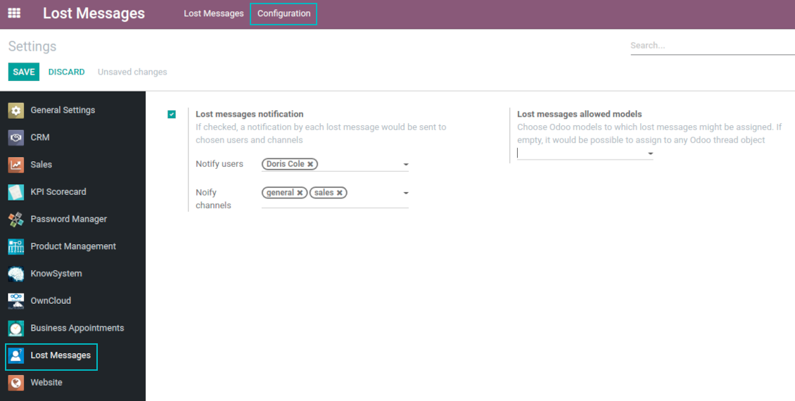 Odoo lost messages notification