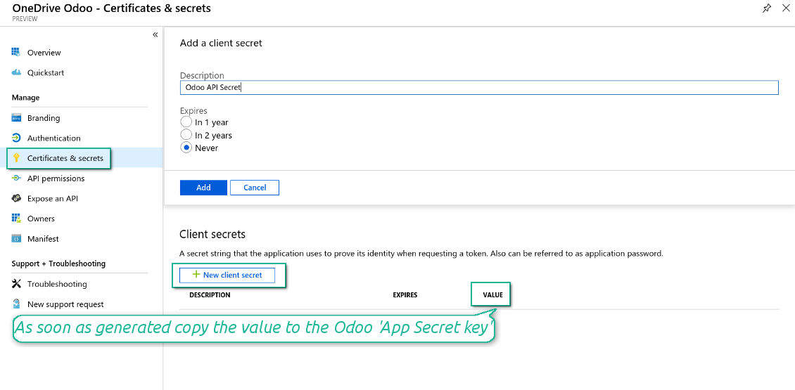 Odoo new OneDrive / SharePoint secret