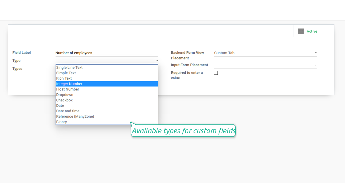 Custom field types for Odoo opportunities