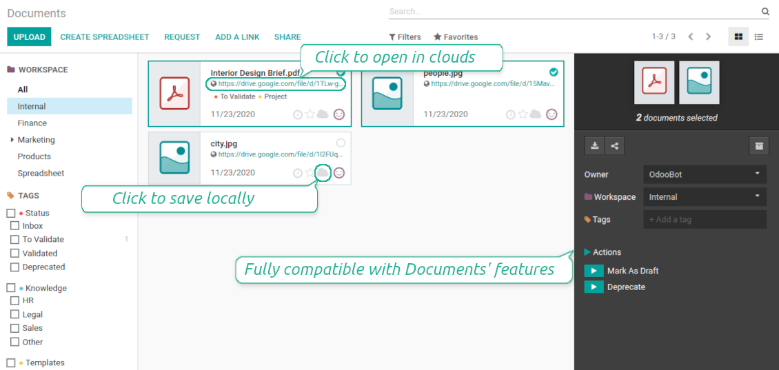 Odoo documents sync interface