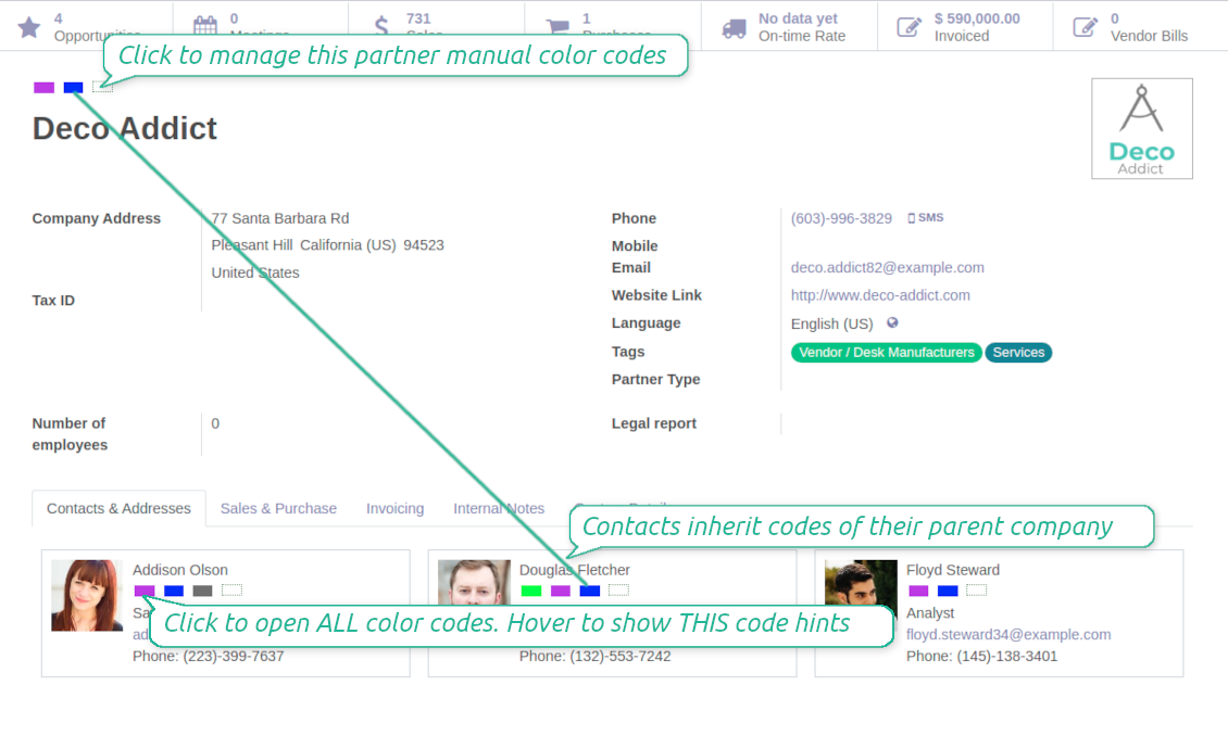 Odoo contact form color boxes