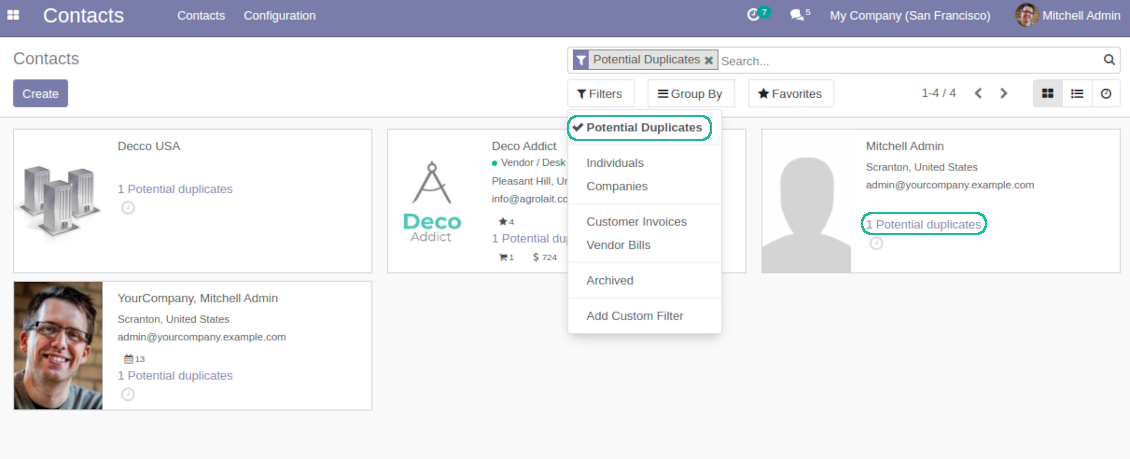 Odoo partners duplicates kanban view and filter