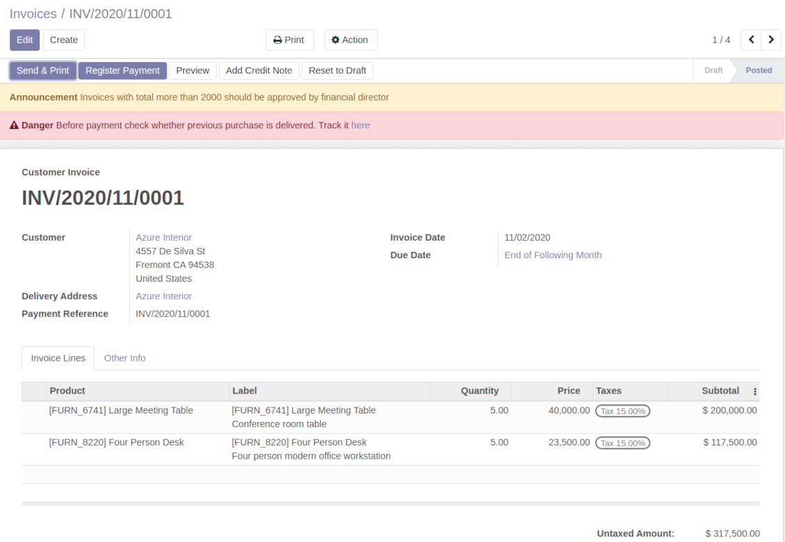 Odoo invoices warnings