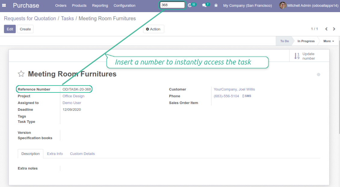 Quick search of Odoo tasks by number