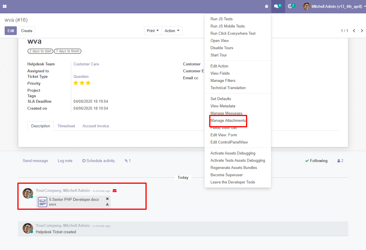 issue management for customers support in odoo