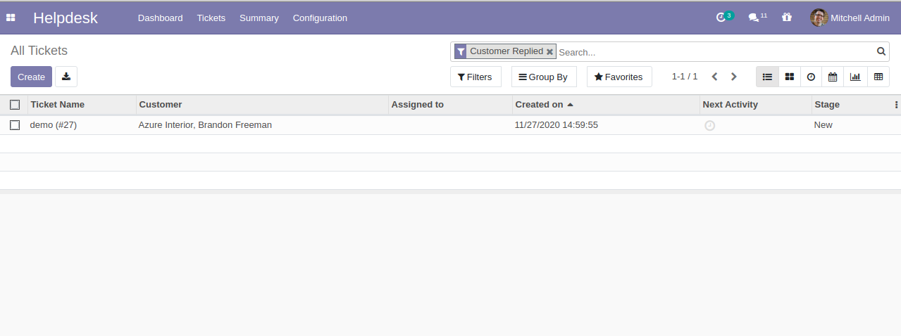 Online ticketing system for customer support in Odoo