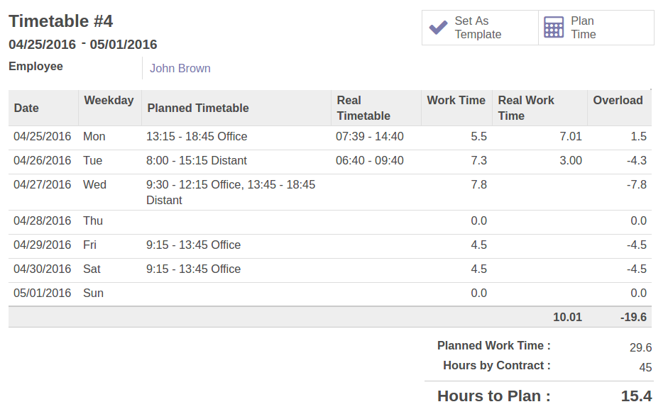 Odoo Flexible timetable