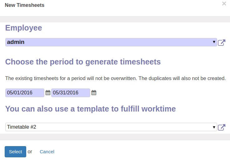 Odoo Create timetable